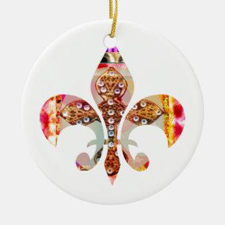 Ornamento De Cerâmica Teste padrão floral da jóia de Fleur di lis Flor