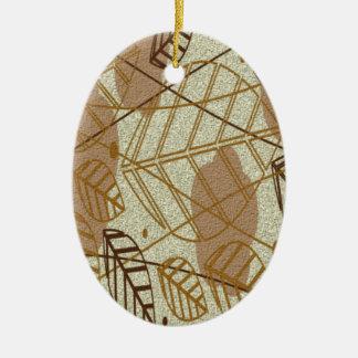 Ornamento De Cerâmica Teste padrão floral de Brown Tan da flor das