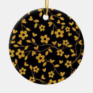 Ornamento De Cerâmica Teste padrão floral do brilho retro do ouro