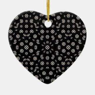 Ornamento De Cerâmica Teste padrão floral escuro de Ditsy