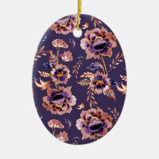 Ornamento De Cerâmica Teste padrão floral roxo