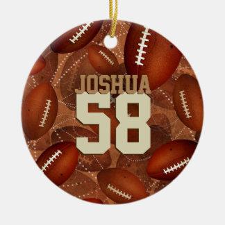 Ornamento De Cerâmica Teste padrão Footballz dos esportes! seu número
