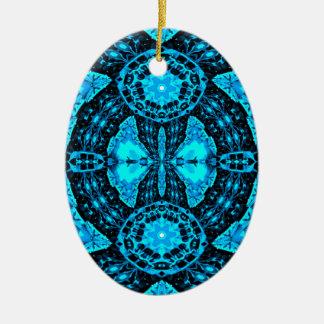 Ornamento De Cerâmica Teste padrão Funky azul de néon moderno
