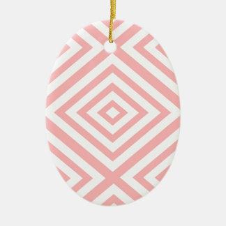 Ornamento De Cerâmica Teste padrão geométrico abstrato - rosa e branco