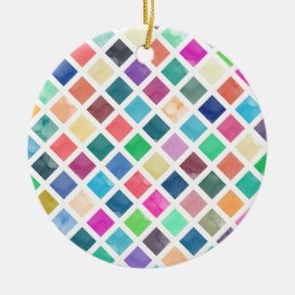 Ornamento De Cerâmica Teste padrão geométrico da aguarela
