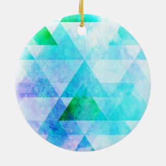 Ornamento De Cerâmica Teste padrão geométrico da aguarela azul