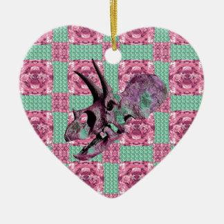 Ornamento De Cerâmica Teste padrão geométrico do crânio cor-de-rosa do
