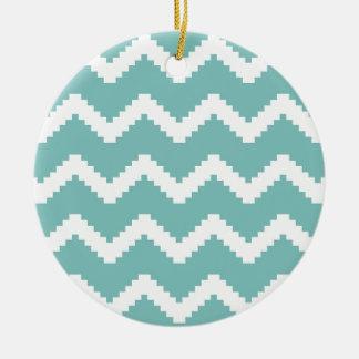 Ornamento De Cerâmica Teste padrão geométrico do ziguezague - azul e