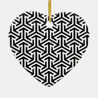 Ornamento De Cerâmica Teste padrão geométrico preto e branco