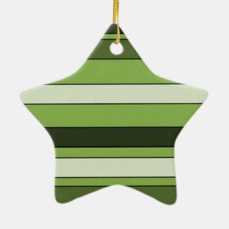 Ornamento De Cerâmica Teste padrão horizontal verde das listras das