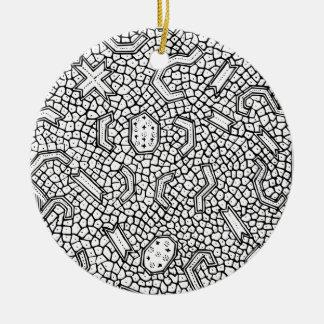Ornamento De Cerâmica Teste padrão indonésio celular de matéria têxtil