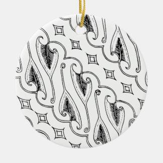 Ornamento De Cerâmica Teste padrão indonésio de matéria têxtil da folha
