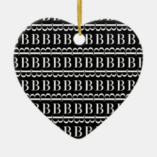 Ornamento De Cerâmica Teste padrão inicial do monograma, letra B no