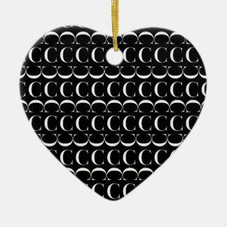 Ornamento De Cerâmica Teste padrão inicial do monograma, letra C no