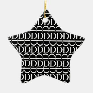 Ornamento De Cerâmica Teste padrão inicial do monograma, letra D no