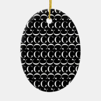 Ornamento De Cerâmica Teste padrão inicial do monograma, letra G no
