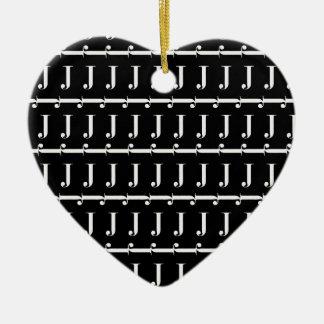 Ornamento De Cerâmica Teste padrão inicial do monograma, letra J no