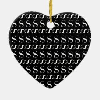 Ornamento De Cerâmica Teste padrão inicial do monograma, letra S no