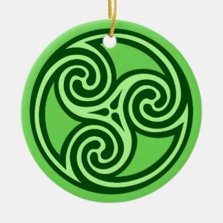 Ornamento De Cerâmica Teste padrão, limão e verde escuro de Triskele do