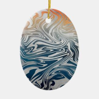 Ornamento De Cerâmica Teste padrão líquido de prata abstrato
