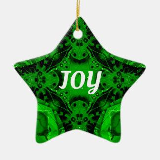 Ornamento De Cerâmica Teste padrão moderno branco verde do feriado da