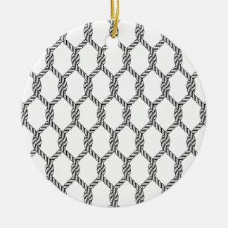 Ornamento De Cerâmica Teste padrão náutico preto e branco da corda