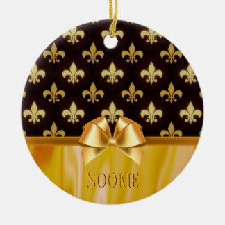 Ornamento De Cerâmica Teste padrão Nova Orleães da flor de lis do ouro