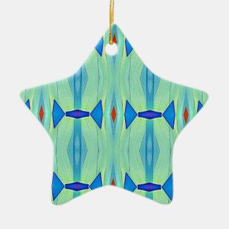 Ornamento De Cerâmica Teste padrão Pastel azul do verde bonito da