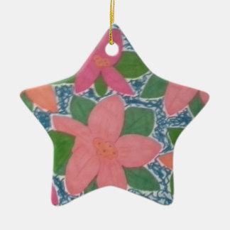 Ornamento De Cerâmica Teste padrão pintado à mão das flores tropicais
