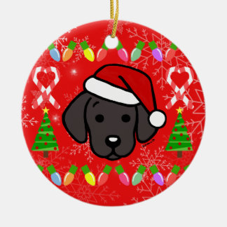 Ornamento De Cerâmica Teste padrão preto do Natal do filhote de cachorro