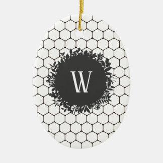Ornamento De Cerâmica Teste padrão preto e branco da colmeia com