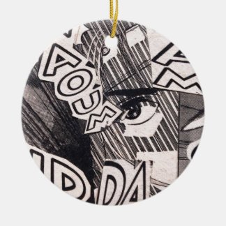 Ornamento De Cerâmica Teste padrão preto e branco da história em