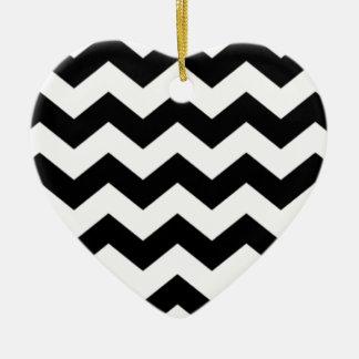 Ornamento De Cerâmica Teste padrão preto e branco de Chevron