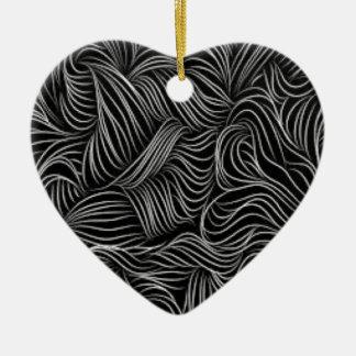 Ornamento De Cerâmica Teste padrão preto e branco de conexão em cascata
