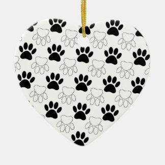 Ornamento De Cerâmica Teste padrão preto e branco do impressão da pata