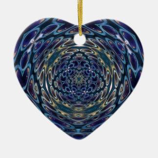 Ornamento De Cerâmica Teste padrão psicadélico do portal do átomo