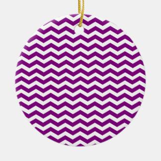 Ornamento De Cerâmica Teste padrão roxo e branco violeta de Chevron do