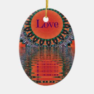 Ornamento De Cerâmica Teste padrão roxo vermelho refletindo da mandala