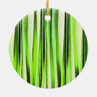 Ornamento De Cerâmica Teste padrão Stripy verde eterno
