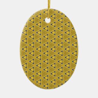 Ornamento De Cerâmica Teste padrão triangular amarelo