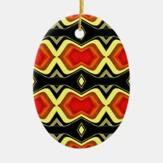 Ornamento De Cerâmica Teste padrão tribal da queda do preto do amarelo