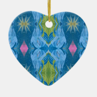 Ornamento De Cerâmica Teste padrão tribal de Starburst do limão azul
