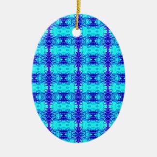 Ornamento De Cerâmica Teste padrão tribal dos azuis marinhos azuis de