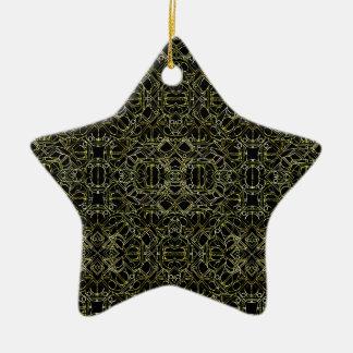 Ornamento De Cerâmica Teste padrão tribal dourado de Geo