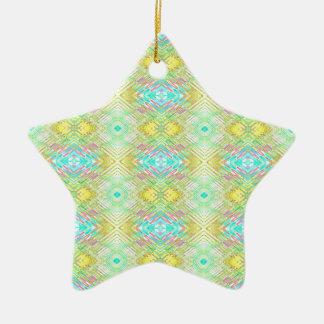 Ornamento De Cerâmica Teste padrão tribal Pastel azul do limão bonito do