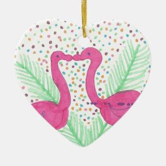 Ornamento De Cerâmica Teste padrão tropical do divertimento do flamingo