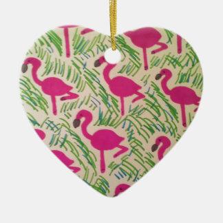 Ornamento De Cerâmica Teste padrão tropical dos flamingos cor-de-rosa