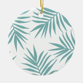 Ornamento De Cerâmica Teste padrão tropical verde delicado das folhas