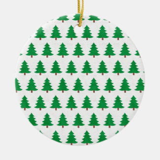 Ornamento De Cerâmica Teste padrão verde da árvore de Natal, impressão