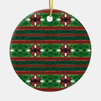Ornamento De Cerâmica Teste padrão verde vermelho listrado rústico do